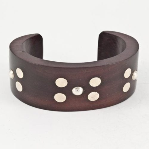 Wood Bracelet with Silver Pieces