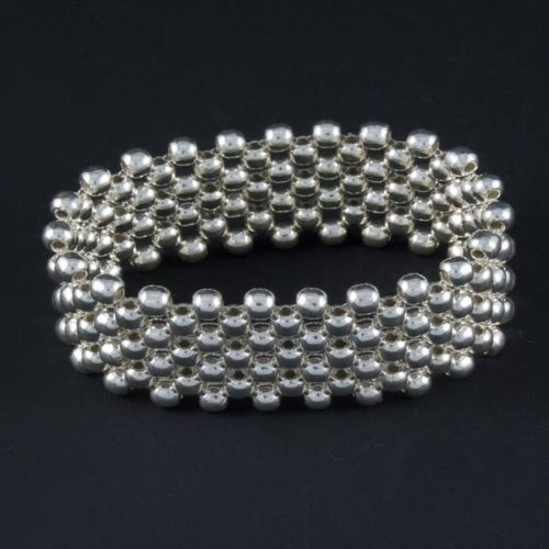 Silver Marbles Oval Bracelet