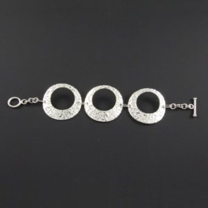 3 Hammered Circles Chain Bracelet