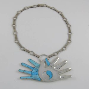 Turquoise Hand Silver Necklace