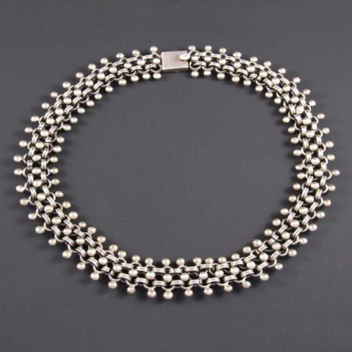 Mini Silver Marbles Circular Necklace