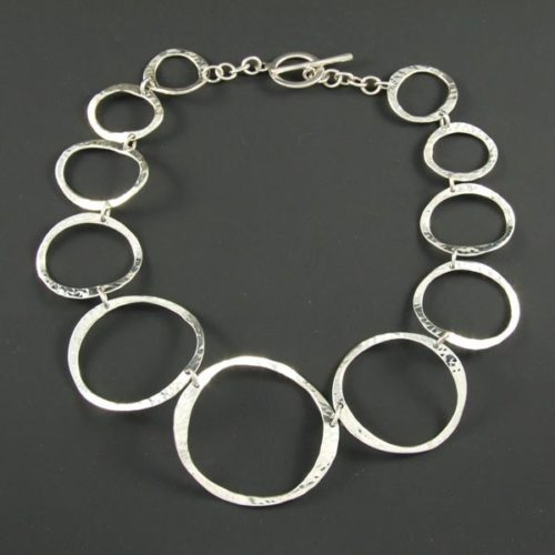 Hammered Bent Circles Necklace
