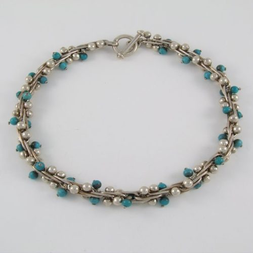 Silver & Turquoise Marbles Bracelet