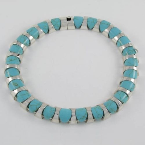 Turquoise Circular Necklace Mexican Silver