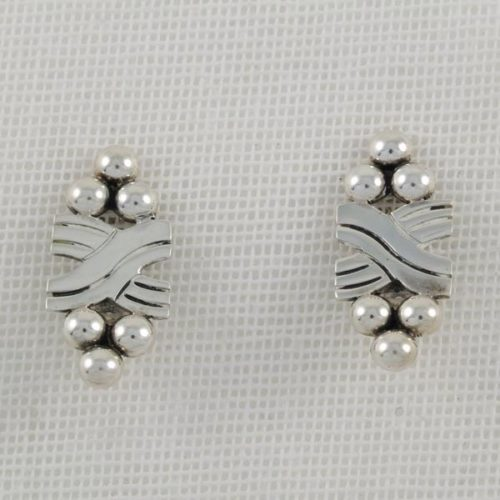 Plain Earrings with Silver Marbles