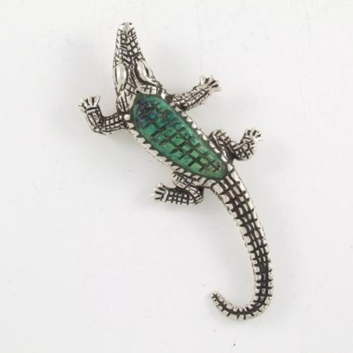 Malaquite Crocodile Brooch