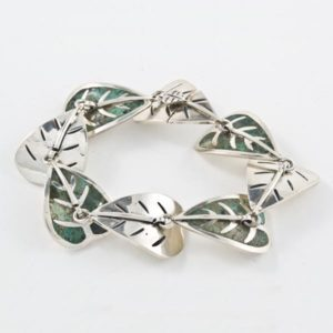 Silver & Stone Leaves Bracelet