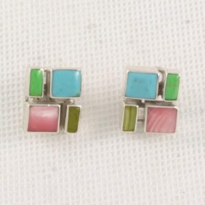 Square Multi Stone Earrings