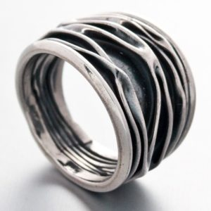 Crinkle Oxidized Ring Mexican Sterling Silver
