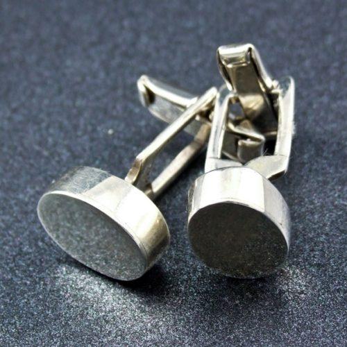 Oval Flat Silver Cufflinks