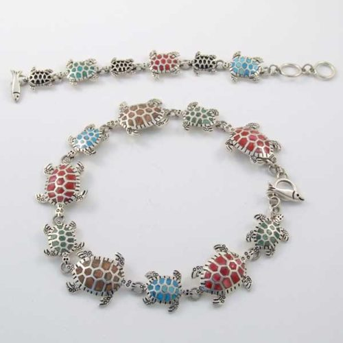 Silver Stone Turtles Bracelet and Necklace