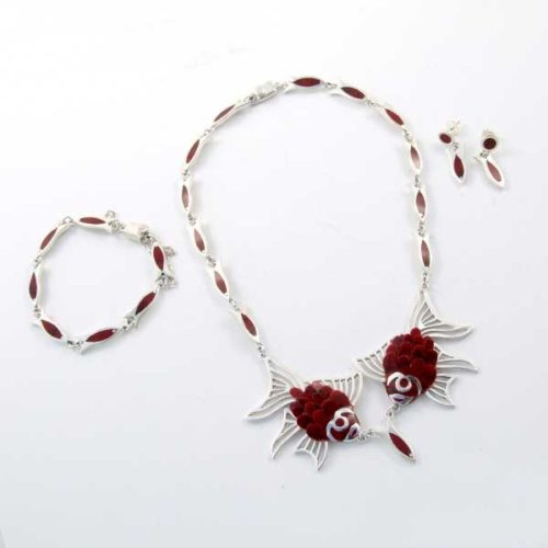 Silver and Coral Set