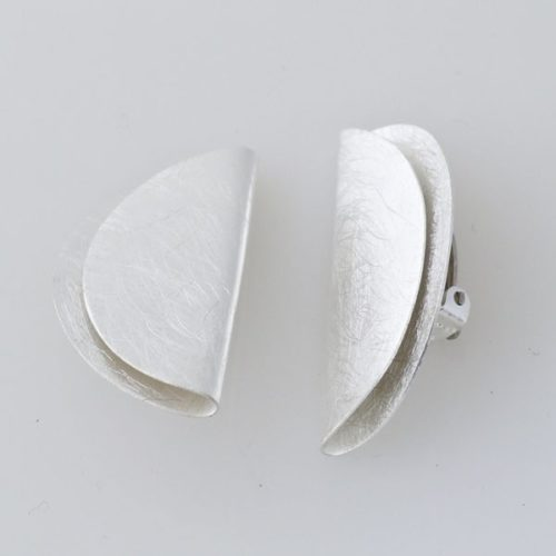 Brushed Half Moon Clip On Earring