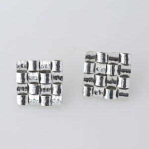 Square Hammered Clip On Earring