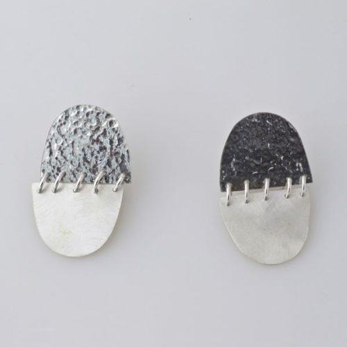 Oval Hammered/Brushed Clip On Earring