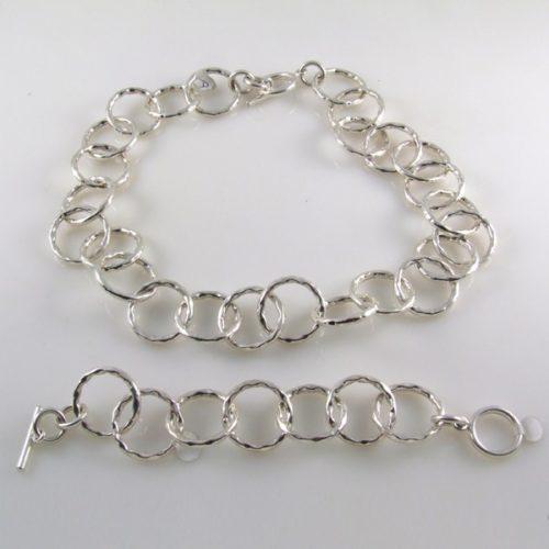 Hammered Necklace and Bracelet
