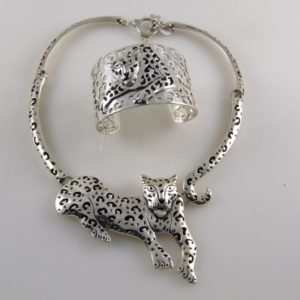 Jaguar Set Plain Necklace & Bracelet Mexican Sterling Silver