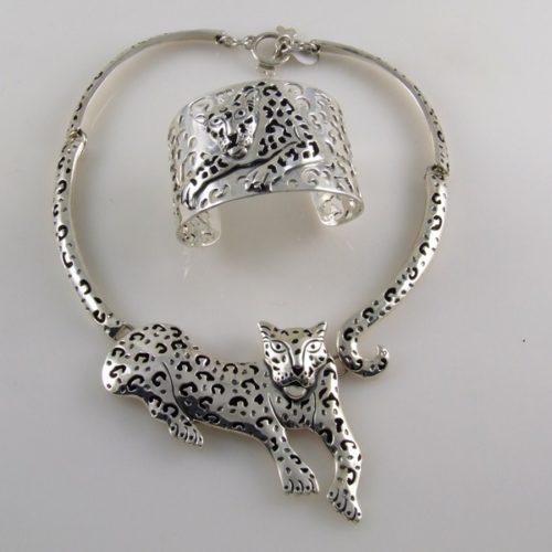 Jaguar Set Plain Necklace & Bracelet Mexican Sterling Silver