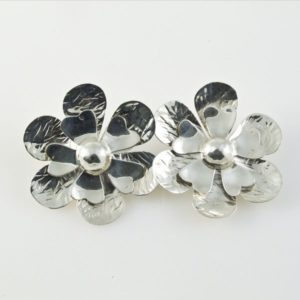 Textured Flowers Clip-ons Earrings