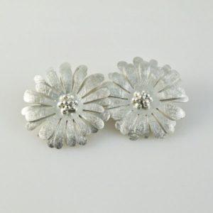Brushed Flowers Clip-ons Earrings