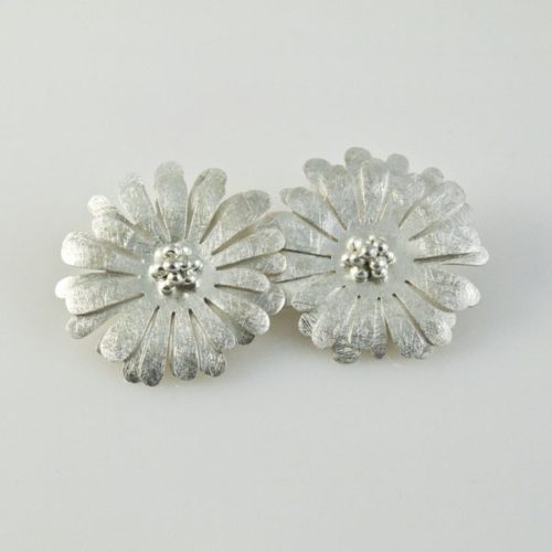 Brushed Flowers Clip-ons Earrings