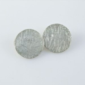 Brushed Flat Circles Clip-ons Earrings