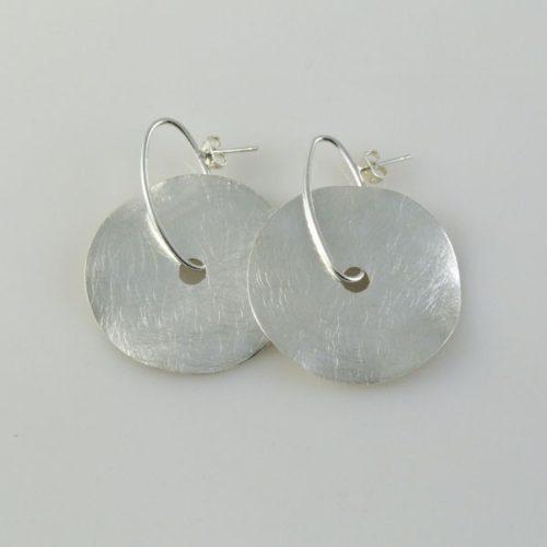 Post Earrings Brushed Circular
