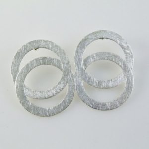 Brushed Circular Post Earrings