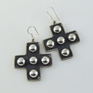 Oxidized Silver Cross Post Earrings