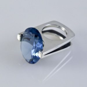 Blue Topaz Ring Mexican Sterling Silver
