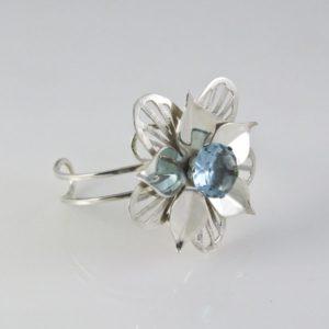Blue Topaz Stone Flower Bracelet