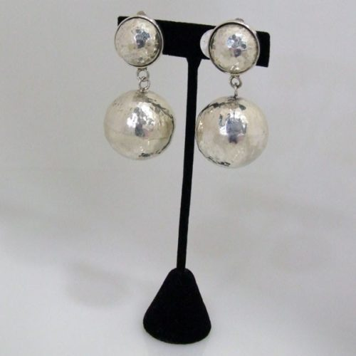 Clip On Round Hammered Earrings