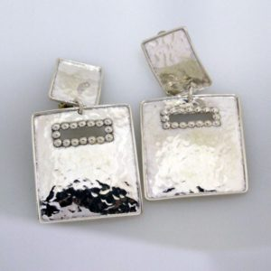 Clip On Earring Square hammered