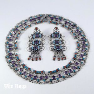 Sets Earring and Necklace Baroque Style Mexican Sterling Silver