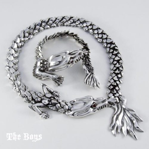 Dragon Set Bracelet and Necklace Mexican Sterling Silver