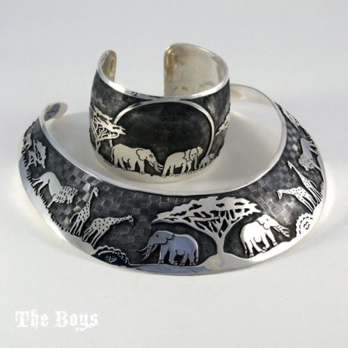 Animal Set Bracelet Necklace Mexican Sterling Silver