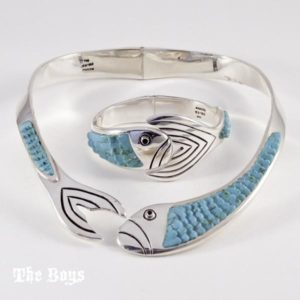 Set Fish Bracelet Necklace Mexican Sterling Silver