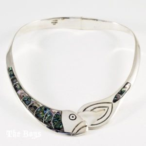 Fish Necklace Abalone Mexican Sterling Silver