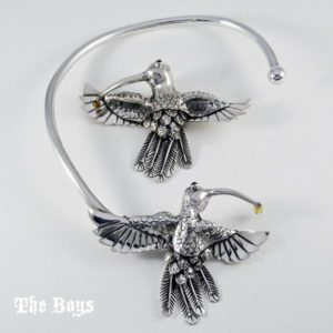 Set Hummingbird Pendant Necklace Mexican Sterling Silver