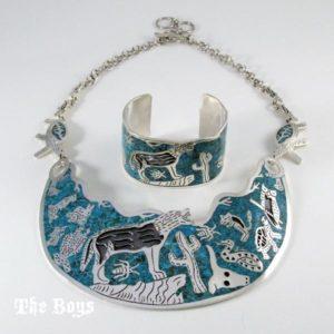 Set Safari Necklace Bracelet Mexican Sterling Silver