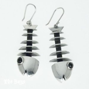 Earrings Fishbone Mexican Sterling Silver