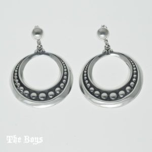 Earrings Pressed Bead Mexican Sterling Silver