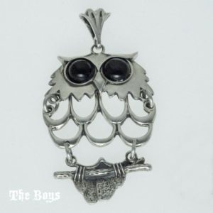 Owl Pendant Mexican Sterling Silver with Onyx