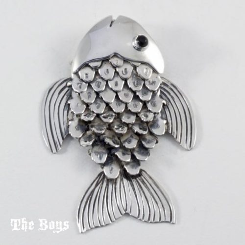 Fish Pendant with Onyx Mexican Sterling Silver