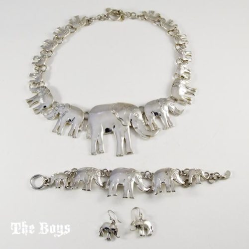 Set Elephants Necklace Bracelet Earrings Mexican Sterling Silver